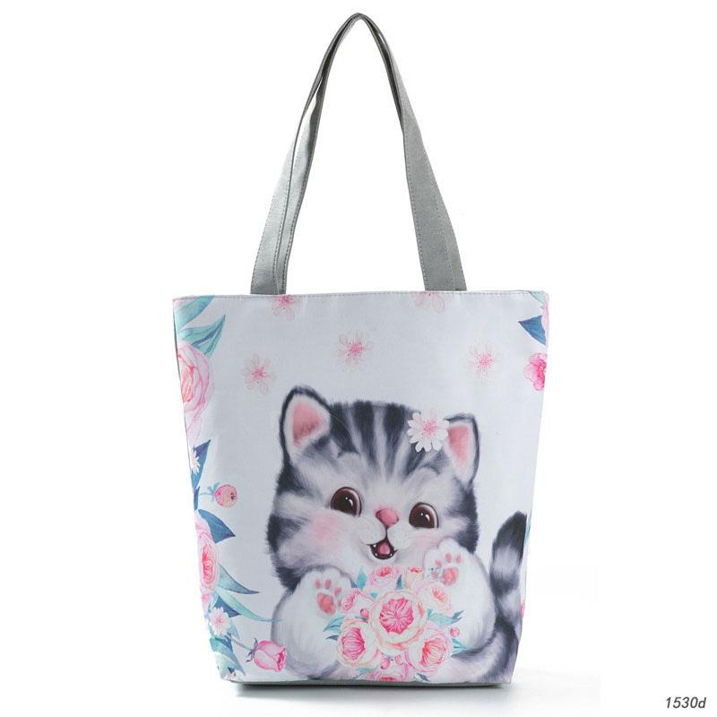 good quality Lovely Cat Print Tote Handbag For Teenage Girls Cartoon Design Canvas Shoulder Bag Female Daily Use Shopping Beach Bag