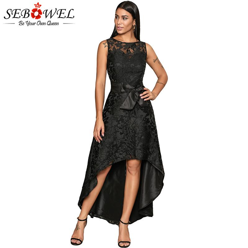bf21f74ffb7d Wholesale Elegant Black Floral Lace Party Dress Women Sexi Sleeveless Bow  Sash Maxi Dress Long High Low Hem Lace Evening Gown Bride Dresses Vintage  Prom ...