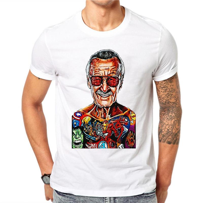 Stan Lee T Shirt Men Rip Superhero Anime Father Tee 100% Cotton White  Commemorate Camiseta Original Tribute Casual T Shirt Men Shirts T Shirt  Online From ... e9d064662