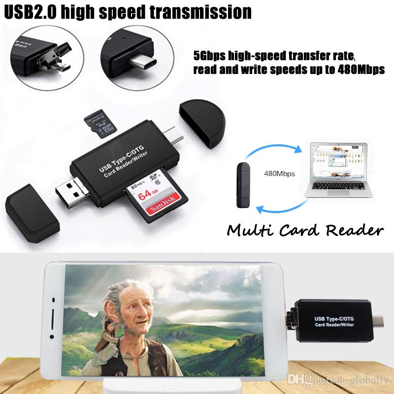 Per Smart Phone USB Extension Header USB 2.0 Lettore di schede ad alta velocità TYPE-C Micro USB Card Writer per notebook Notebook Tablet
