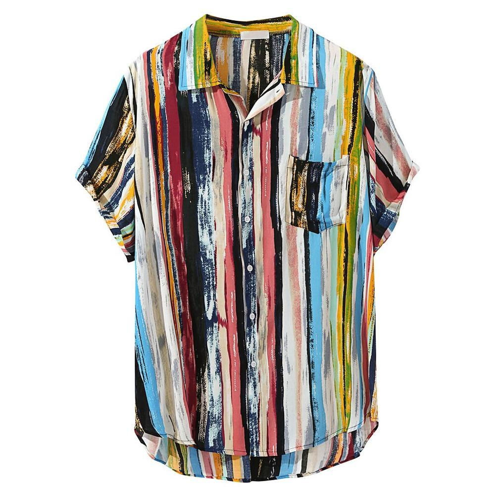 Summer Men Hawaiian Print Short Blouse Sports Beach Quick Dry Blouse Top Turn-down Collar Short Casual Shirts Daily Tops