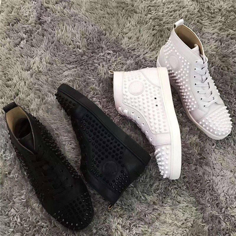 Black-golden Sneakers Shoes For Women,Men Red Bottom Pik Pik Spikes Casual Walking Original High Top Leisure High Quality With Box EU36-47