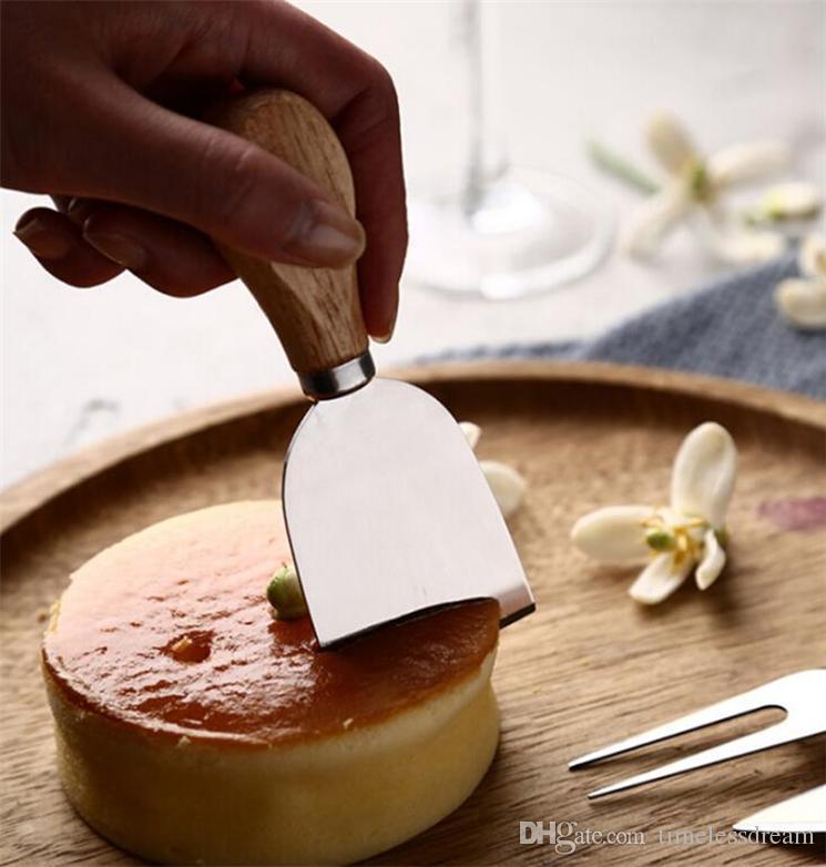 Queso Herramientas útiles set de 4 / SET roble mango del cuchillo Fork pala Kit ralladores de queso de corte Junta Hornear Establece mantequilla pizza máquina de cortar del cortador