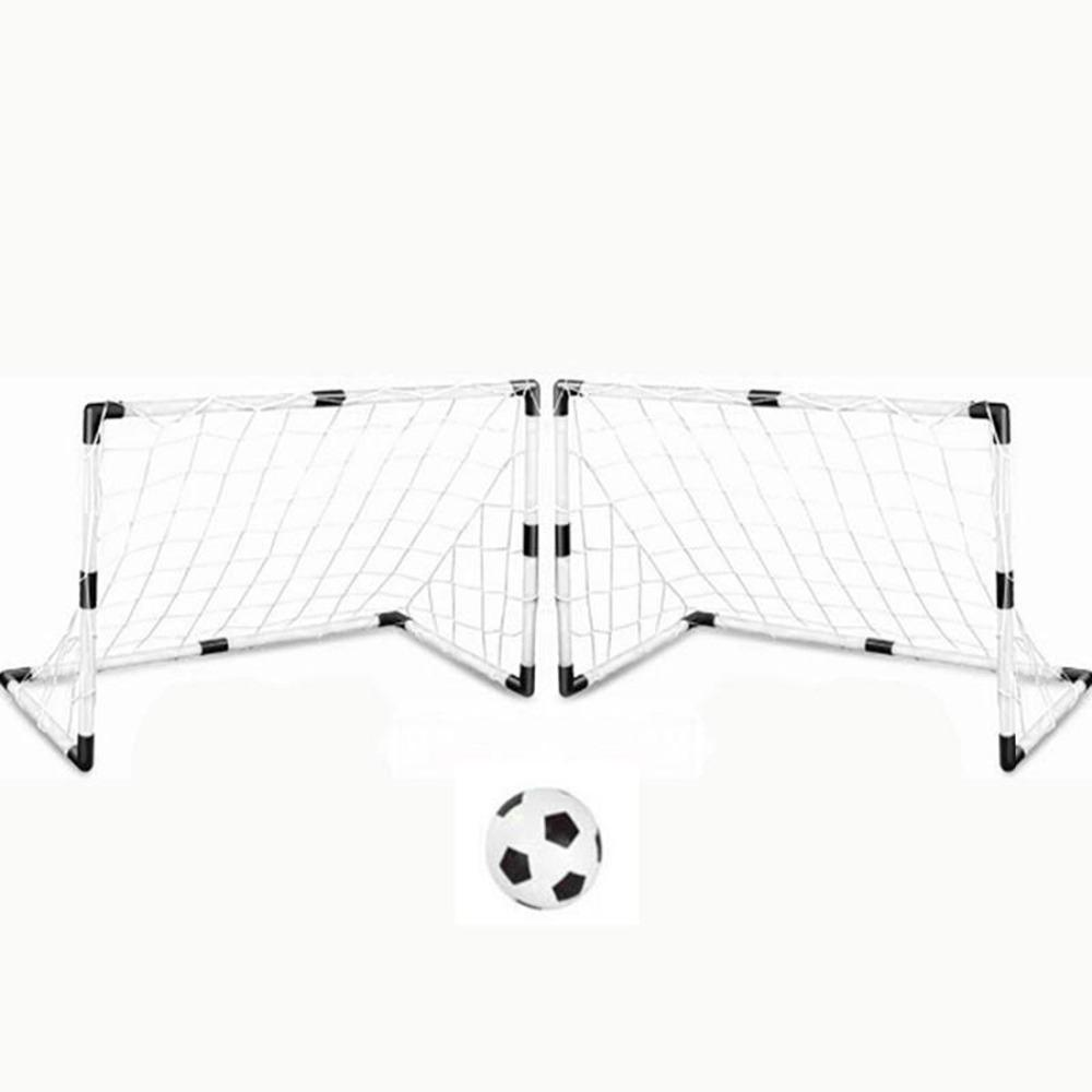 2 Sets DIY Children Sports Soccer Goals with Soccer Ball and Pump Practice Scrimmage Game Football Gate DIY White Gift For Kids