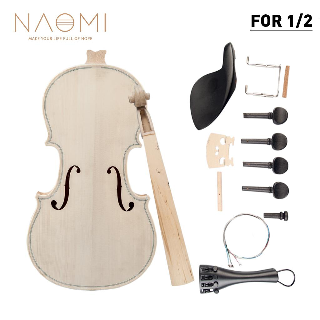 NAOMI 1/2 DIY Violin Natural Solid Wood Acoustic Violin Fiddle Kit Spruce Top Maple Back Neck Fingerboard Aluminum Alloy New