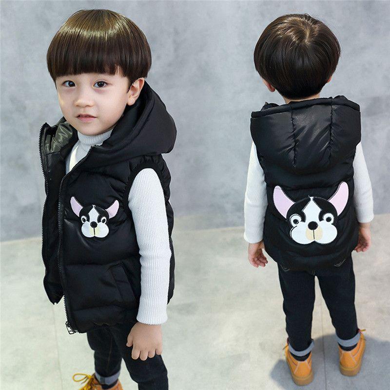 Winter New Children Clothing Boys Girls Cartoon Thick Waistcoats Kid Hooded Vest