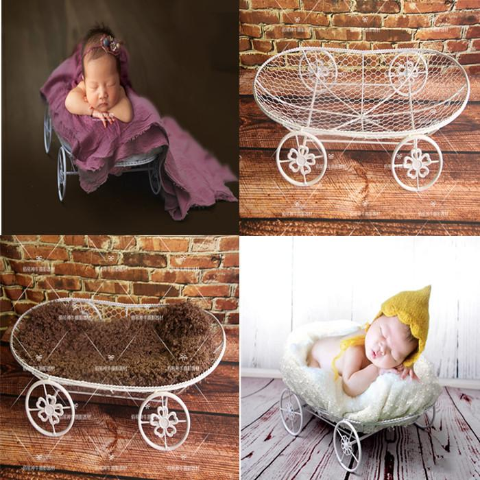 f2b3bacfe909f New Newborn Photography Props Baby Photo Studio Baby Shooting Props Korean  Frame Wrought Iron White Four-wheeled Car