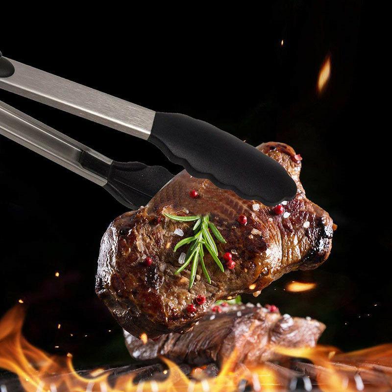 Salade de cuisine Cuisine silicone Servir à manger tenailles pain pratique BBQ cuisson Ecrêtage noir Ensemble d'outils et ustensiles poignée en acier inoxydable