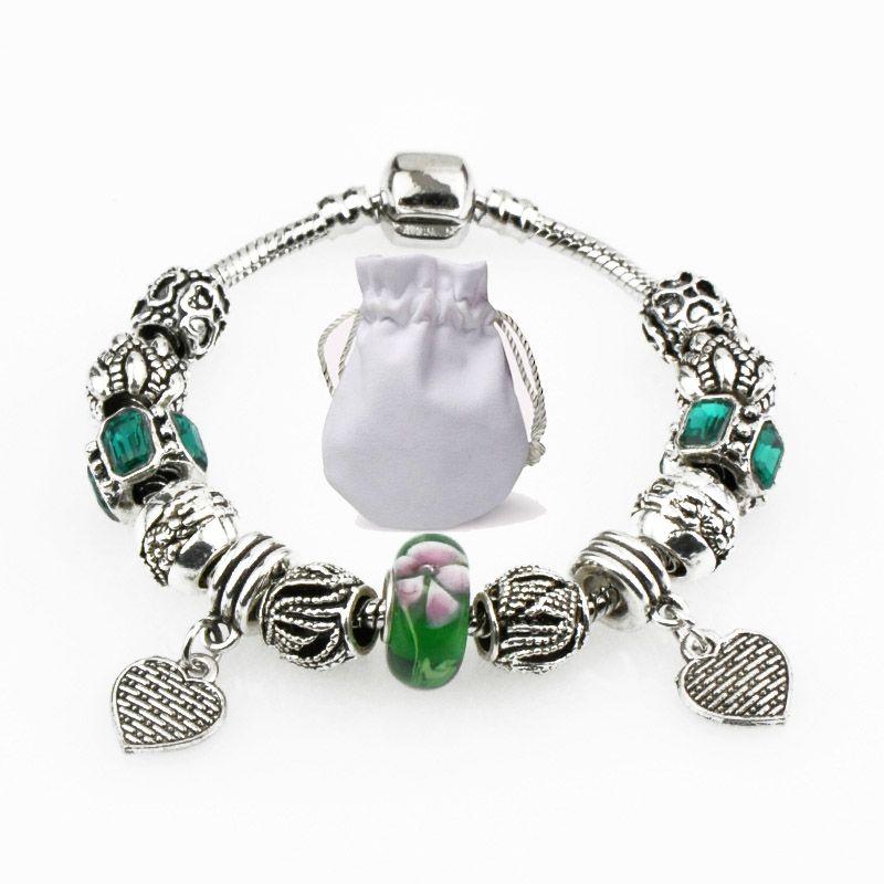 5b8c93830 Charm Bracelets Fit Pandora Green Murano Glass Beads Emeral Crystal Bangles  925 Silver Heart Pendant Women Designer Snake Chain Jewelry P54 Silver  Bangle ...