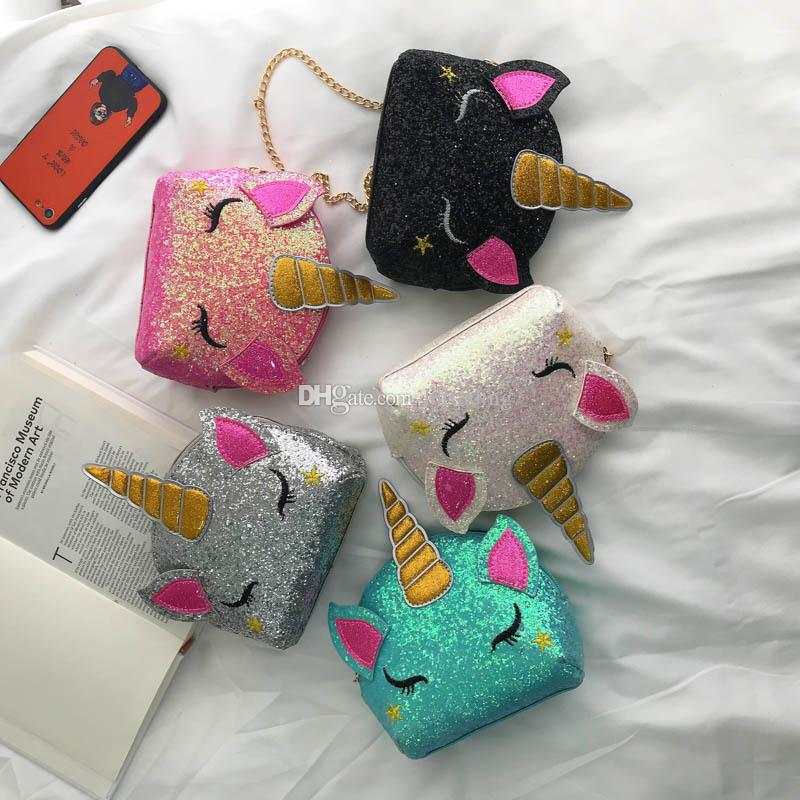5 styles Unicorn Chain Shoulder Bags Bling Sequins Cartoon Crossbody Bag kids Messenger Bag coin bag party favor gift C6680