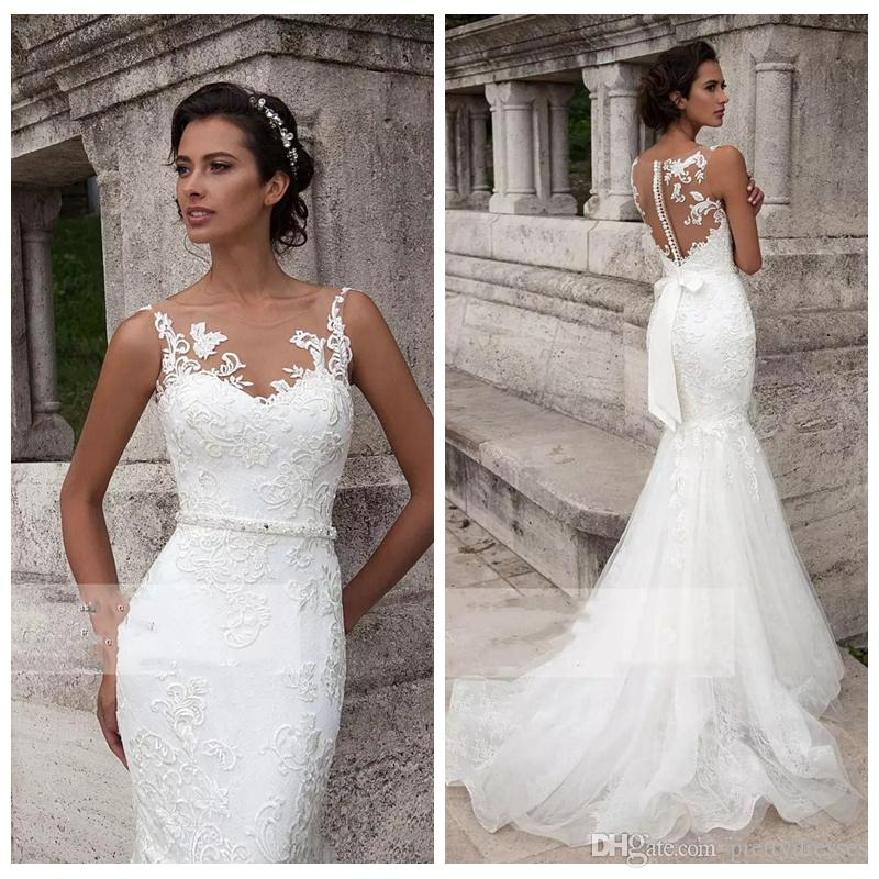 Petite Wedding Dresses.Sheer Lace Appliques Slim Mermaid Wedding Dresses 2019 Petite Custom Sleeveless Bridal Gowns Formal Vestidos De Marriage Cheap