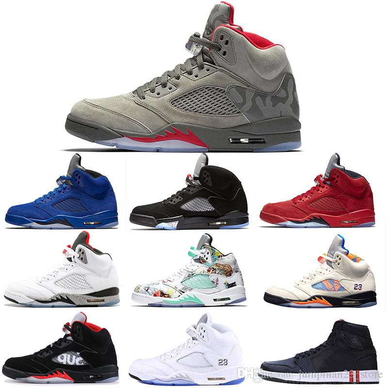 pretty nice c6dfa 710d2 Camo Grey 5s mens basket balls shoes OG Black Metallic Silver red suede  space jam Grapes white Cement International fight designer sneakers