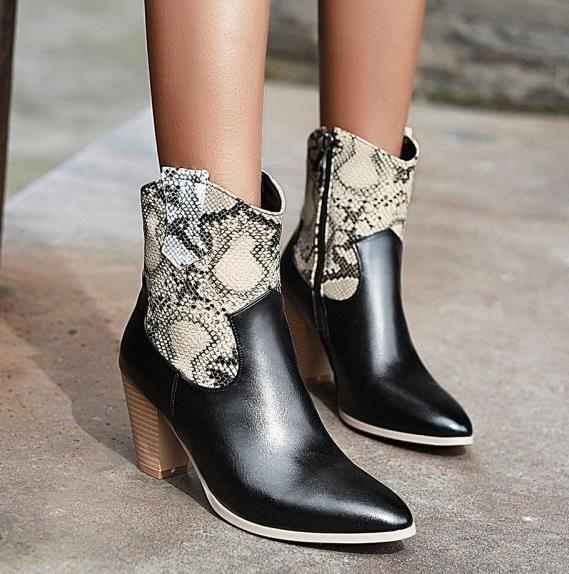más el tamaño 34 a 46 47 con la caja elegante marrón negro tacones gruesos impresos botas de vaquero de las mujeres de lujo botas de diseño
