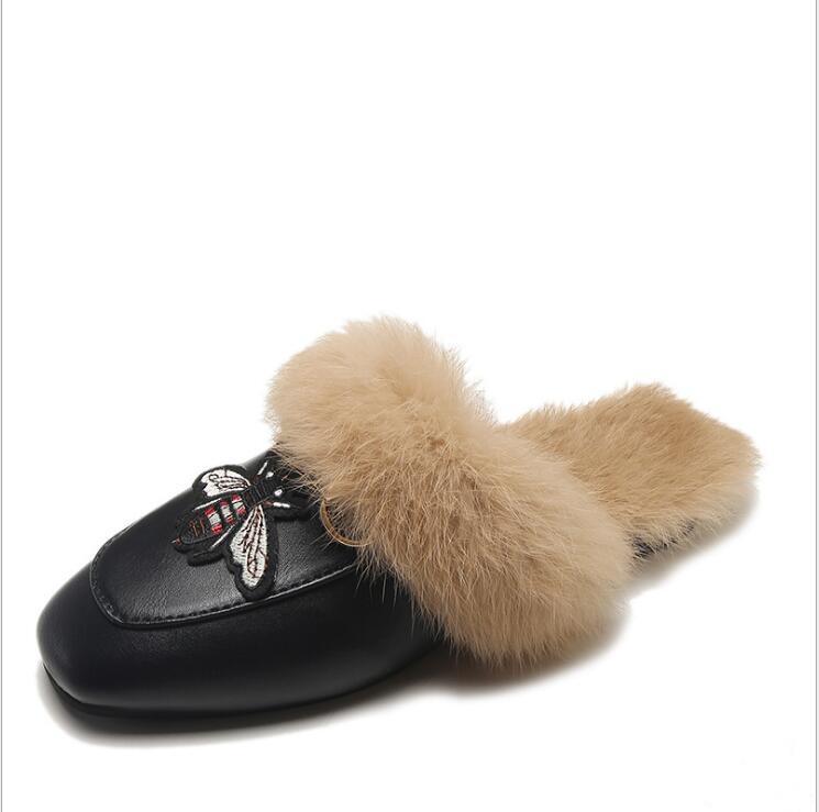 57f9fef9c Fur Mules Flats Ladies Slippers Female Flip Flops Outdoor Woman Applique Mules  Horsebit Loafers Slip On Flat Slides Casual Shoes Boys Slippers Acorn ...
