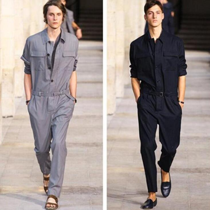 Jumpsuit Men Rompers One Piece Overalls Cotton Mens Runway Designer Long Sleeve Casual Fashion Male Set Outfit Clothes Jumpsuits