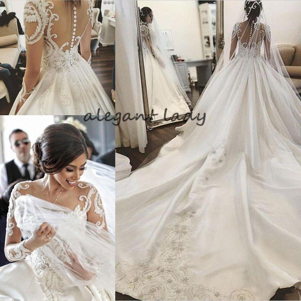 Girocollo maniche lunghe cappella treno abiti da sposa 2019 pizzo di lusso Applique Medio Oriente arabo principessa Chiesa Royal abito da sposa velo