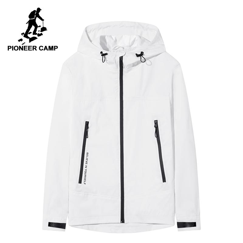 b06e6d81655 Pioneer Camp New White Black Mens Jacket Coat Fashion Hooded Spring Jacket  For Men Quality Printed Outerwear Male Coat AJK802060 Men Jacket Hooded  Jacket ...