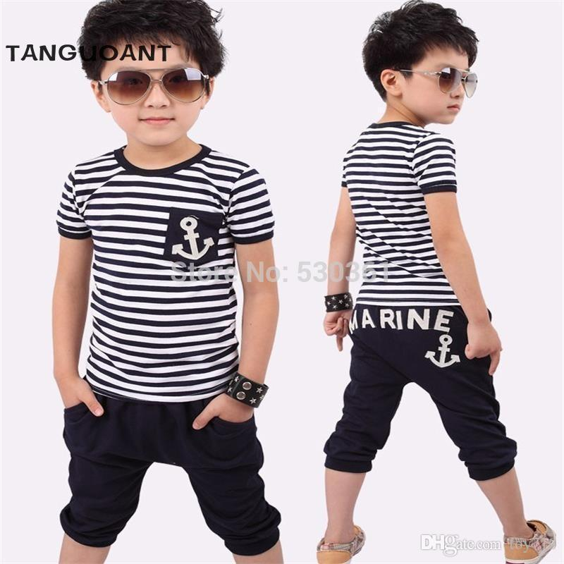 76c0594b7 2019 TANGUOANT Hot Sale Summer Clothing Sets Kids Pants + Top Boys ...