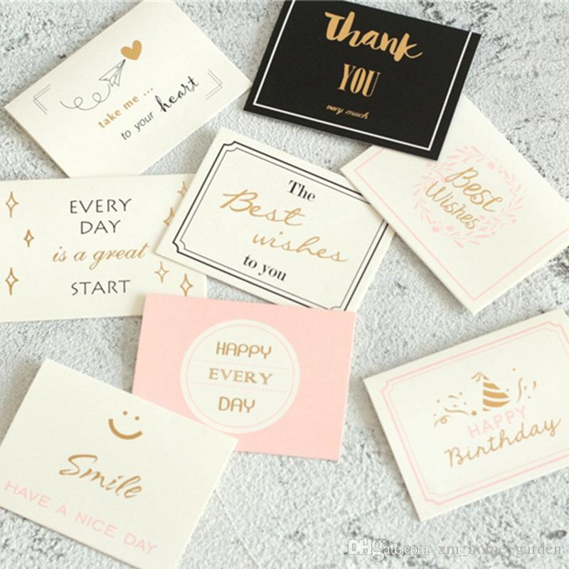 Thank You Best Wishes Greeting Cards Paper Cards Bake Birthday Party Decorations Gold Stamp Paper Christmas Supplies Invitation Cards