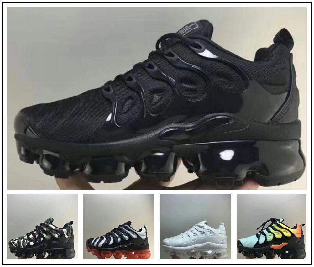 new styles 34bdf 0599b Acheter Nike TN Plus Air Max Airmax Vapormax 2018 Chaussures Air Enfants Tn  Plus Chaussures De Course Pour Bébé Garçons Filles Camo Noir Blanc Baskets  De ...