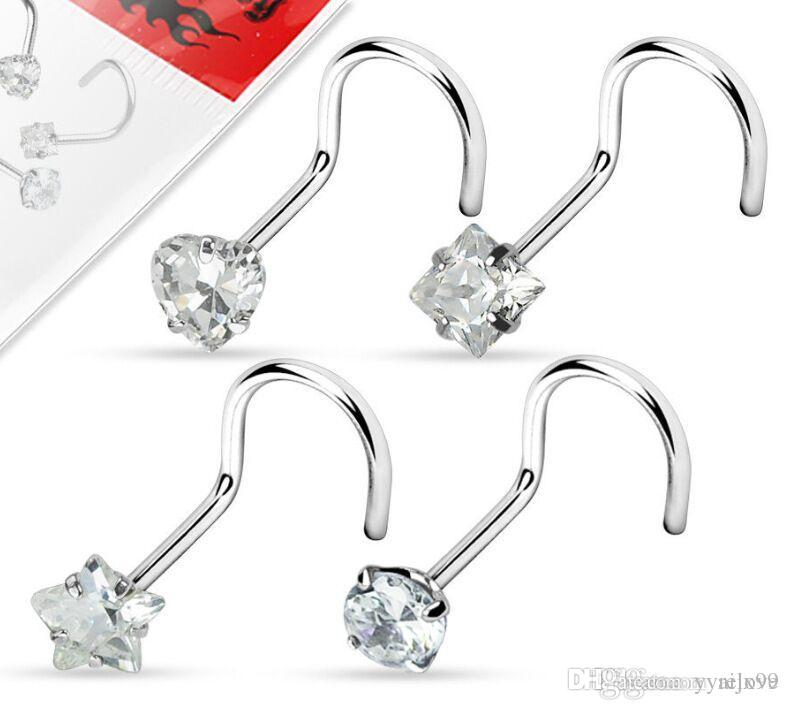 Tragus Piercing Zircon Screw Nose Stud Heart Round Star Shape Nose Ring Eyebrow Bar Helix Cartilage Earring Stud Body Jewelry Wholesales