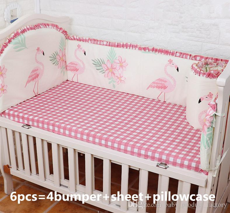Promotion! 6PCS Flamingo bedding balloon Baby Cradle Crib Netting Bedding Set for Newborn ,include (bumpers+sheet+pillow cover)