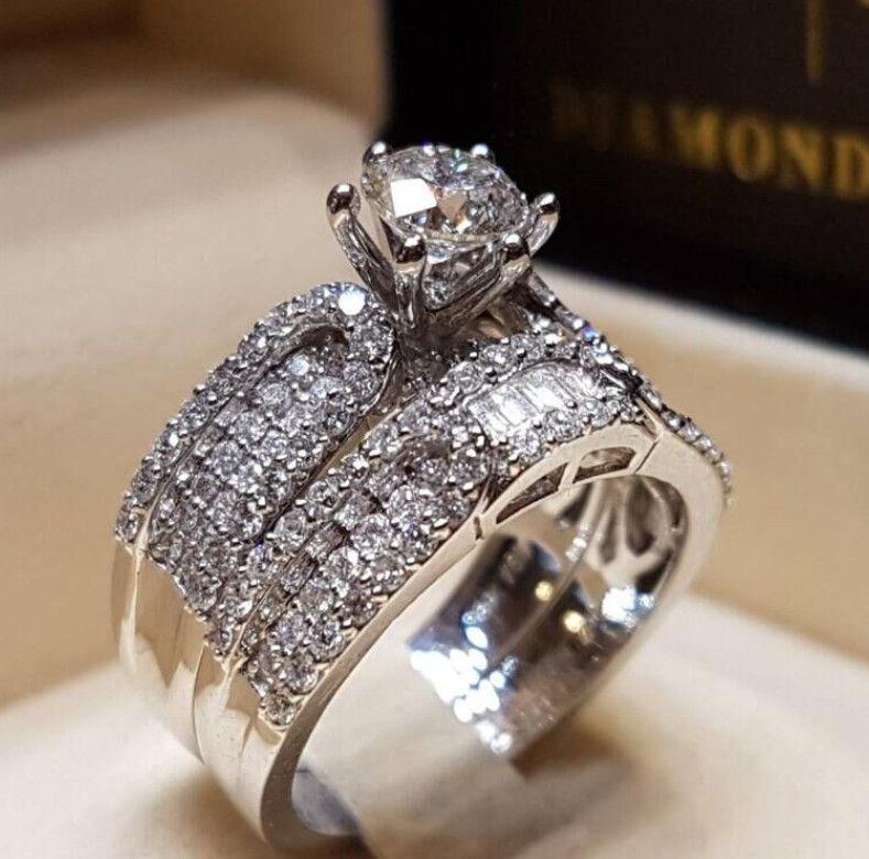 2019 Grand Cubique Zircone Bague De Mode Bijoux De Mariage Bague De Fiançailles Femme Cristal Argent Bague Partie Nouveau Cadeau