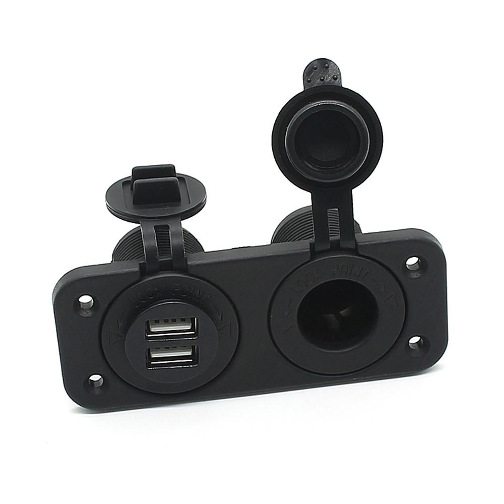 Black 2.1A Dual USB Charger and Socket Panel Mount Marine 12 Volt Power Outlet Aluminum alloy Car adapter C811060