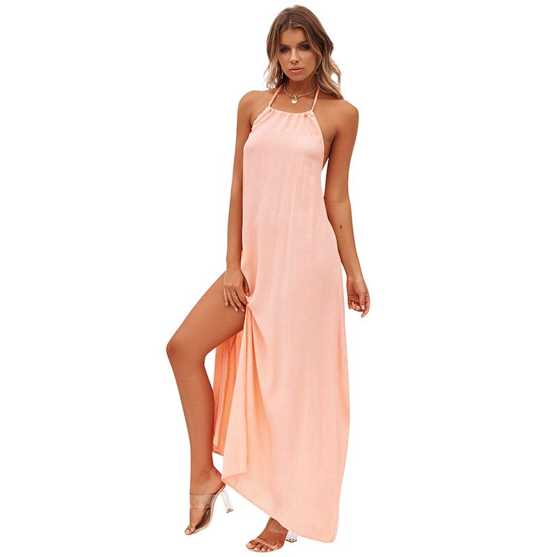 9057a15e51616 2018 New Sexy Boho Maxi Dress Halter Backless Sleeveless Solid Slip Dress  Thigh High Split Beach Summer Holiday Dress Ropa Mujer