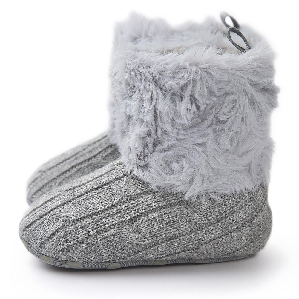 e3327a0fcab Stylish Pure Color Baby Winter Soft Polyester Cotton Knitted Boots Kids  Unisex Warm Princess Shoes Anti Slip Booties Stability Running Shoes Kids  Sport Shoe ...