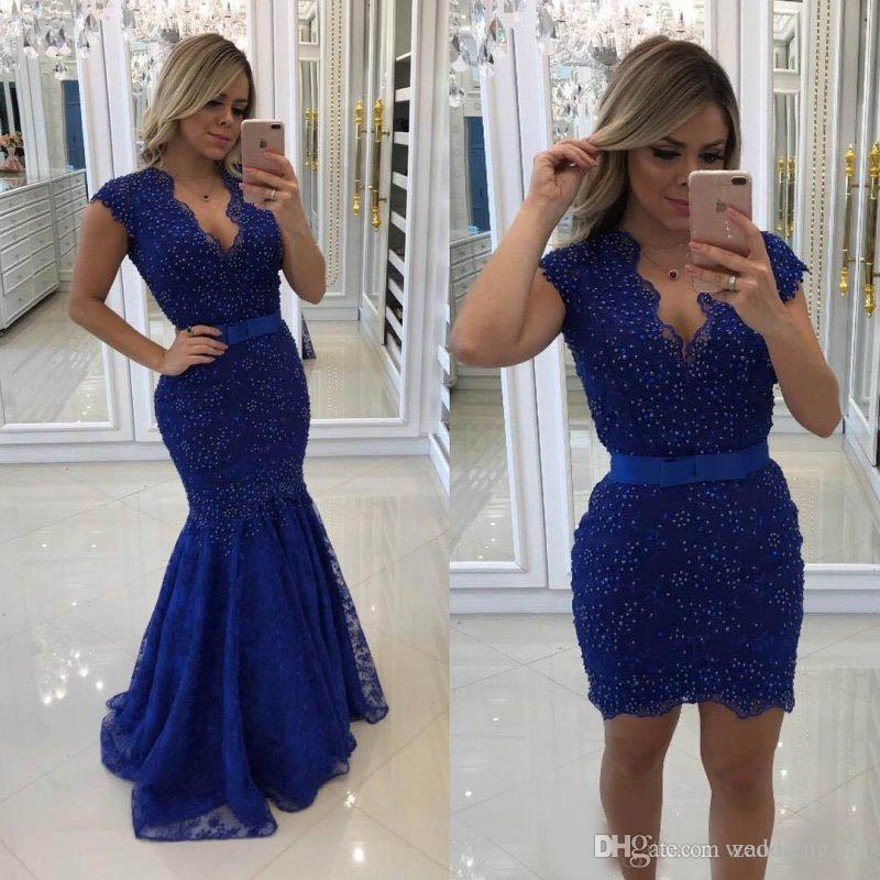 Blue Lace Mermaid Evening Dresses With Detachable Train Beaded Deep V Neck Prom Gowns Vestidos De Fiesta Sweep Train Formal Dress
