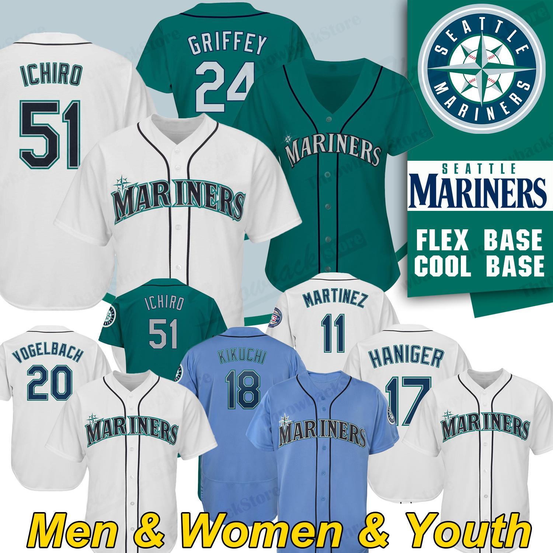 online store f2665 3a45c Seattle Ken Griffey Mariners Jersey 51 Ichiro Suzuki 17 Mitch Haniger 22  Robinson Cano 18 Yusei Kikuchi Mens cool base flex Baseball Jerseys