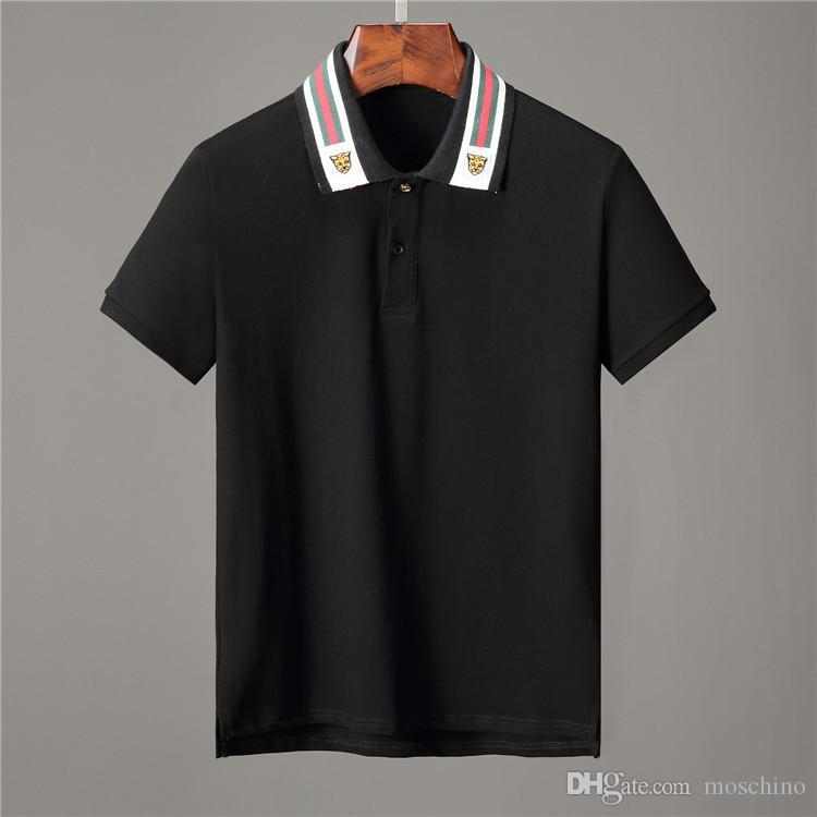 64c61a9a4 2019 Ss19 Italy Cotton Polo With Web And Feline Head Men Tiger Striped  Solid Polo Shirt Collar Polos Mens T Shirts Clothing Shorts Poloshirt G351  From ...