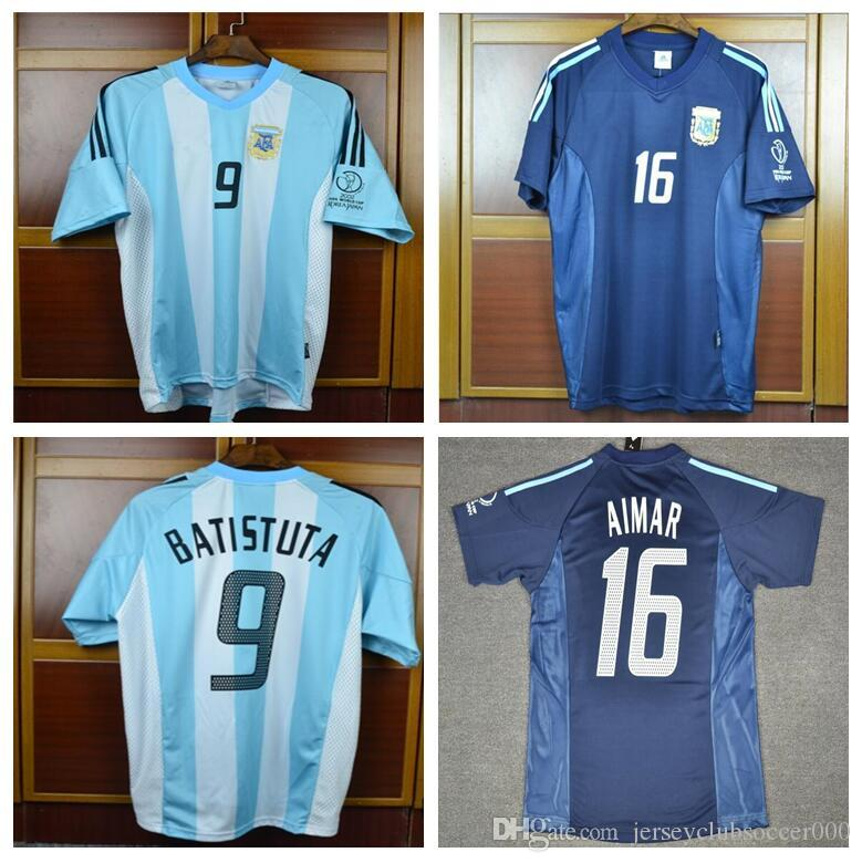 0cd61edb4 2002 Retro Argentina Batistuta AIMAR Soccer Jersey World Cup Football  Shirts Home Away Uniforms Kit UK 2019 From Jerseyclubsoccer000