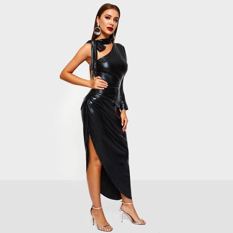 aa574a4d3586 PU Long Bodycon Dress Women One Shoulder Sexy Asymmetric Hem Split Faux  Leather Elegant Ladies Party Evening Black Maxi Dresses Floral Dress Women  Casual ...