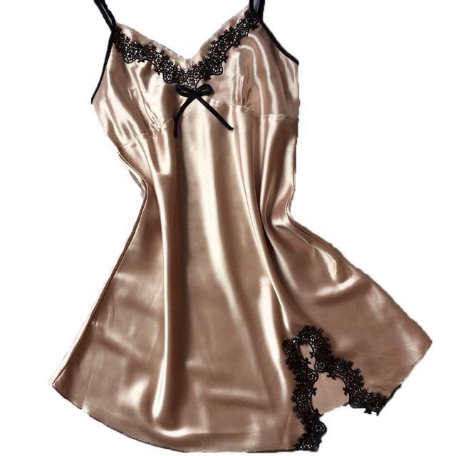 11b3ff28e84 2019 Ladies Sexy Silk Satin Night Dress Sleeveless Nighties V Neck Nightgown  Plus Size Nightdress Lace Sleepwear Nightwear For Women From China buyer01