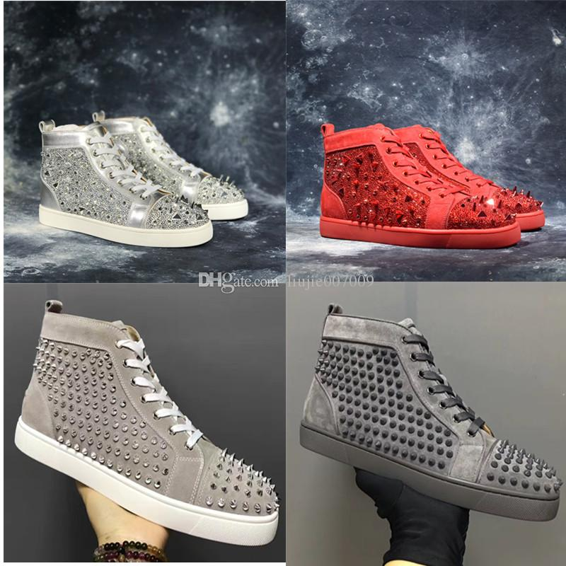 New Arrival Casual Shoe Man Woman Sneaker Fashion Spikes Rhinestone Red Bottom Gold Silver Wedding Designer Rive Shoes Drop Shipping