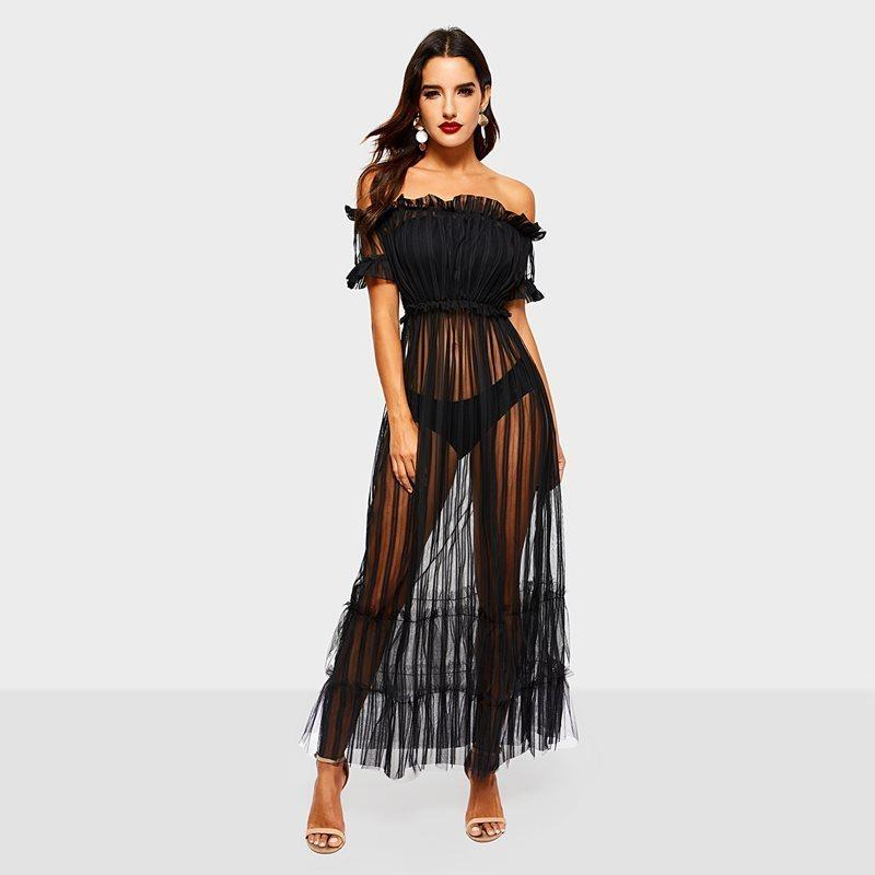 09fb948a74f95 Evening Party Sexy Club Women Gothic Black Ruffle See Through Backless Maxi  Dresses Travel Beach Mesh Extra Long Dress C19041501