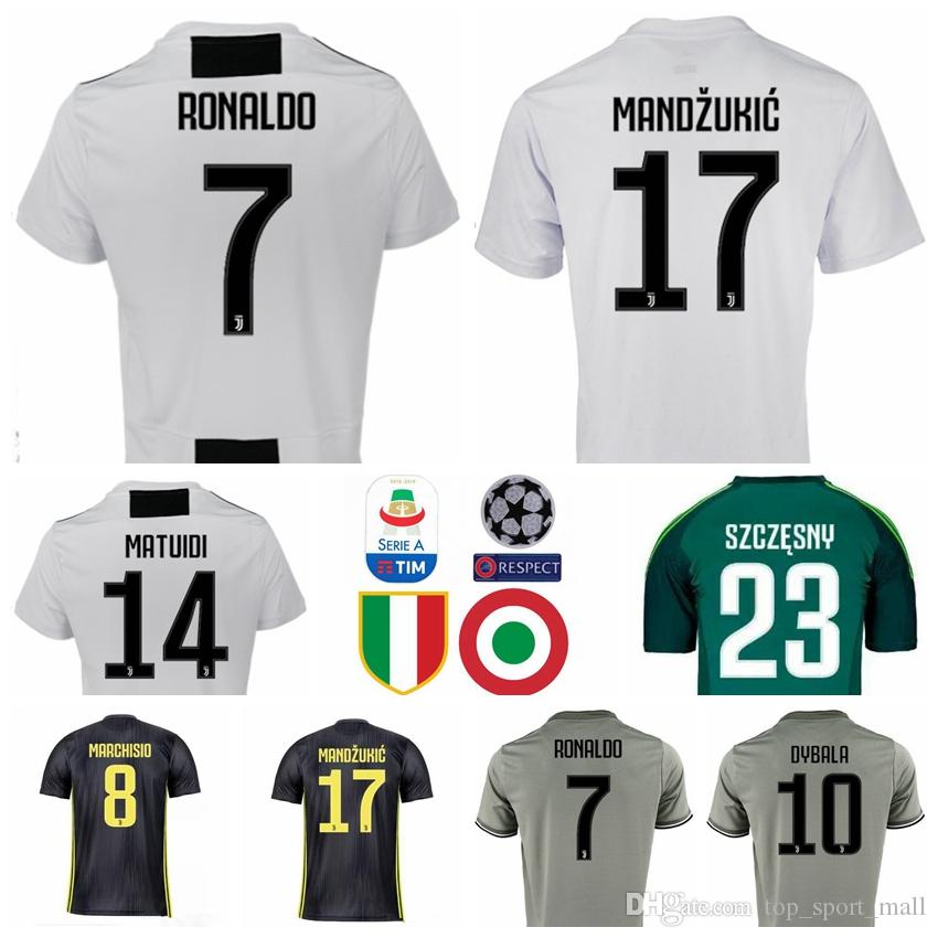 buy popular aaede 5ebc0 2018 2019 Serie A Juventus RONALDO Jersey 7 Soccer Men White 17 MANDZUKIC  10 DYBALA 14 MATUIDI 19 BONUCCI CRISTIANO Football Shirt Kits