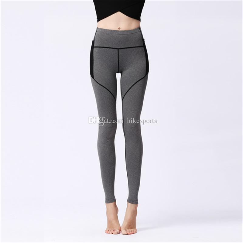 Womens Sport Yoga Pants Side Pockets High Waisted Workout Leggings Fitness Tights Sexy Skinny Pants Riding Running Dance Trousers Sweatpants