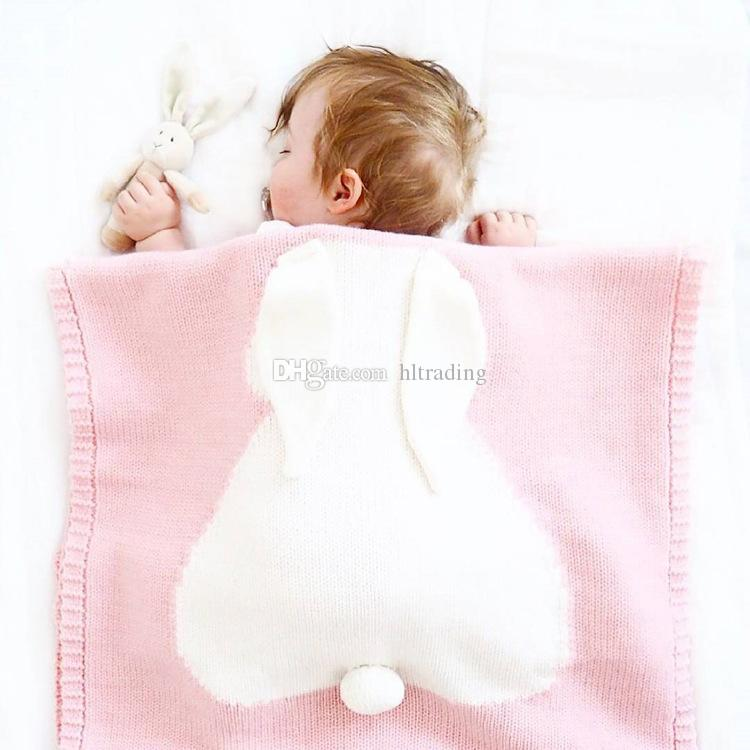 5 Designs 108 x73cm Baby sleeping Blankets 3D Rabbit Ears Kids Cotton Thread Knitted Blanket beach mat Crochet Bunny Swaddling Towel M319