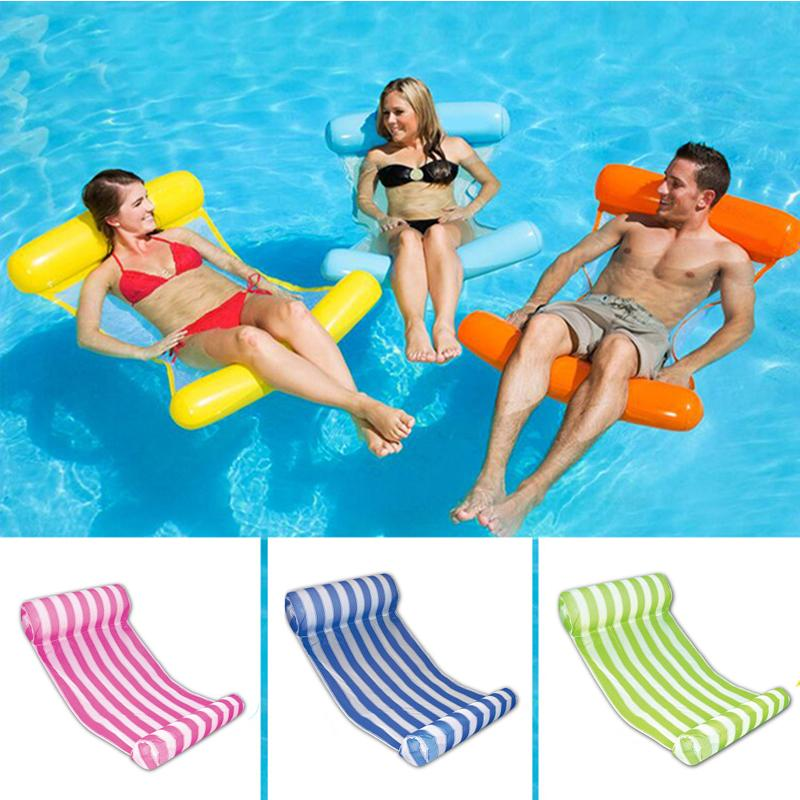 10 Colors Foldable Water Hammock Mesh Inflatable Pool Float Air Mattress Beach Bed Toys Lounge Lie-on Swimming Ring Chair Boia