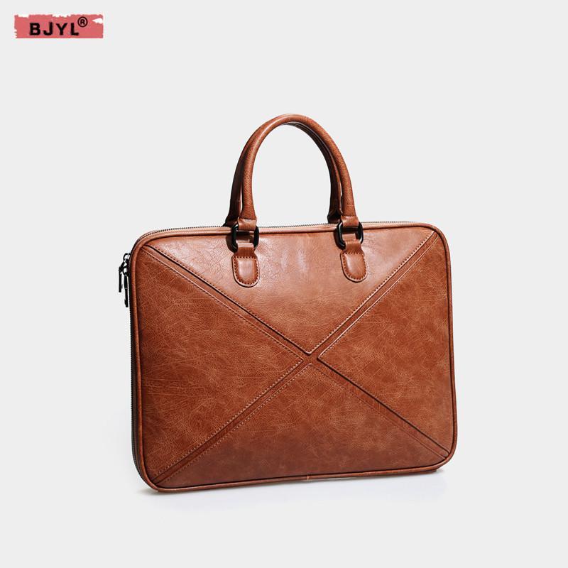 01ff7f7d8219 BJYL Genuine Leather men and women briefcase thin section 14 inch Laptop  computer handbag female shoulder notebook messenger bag