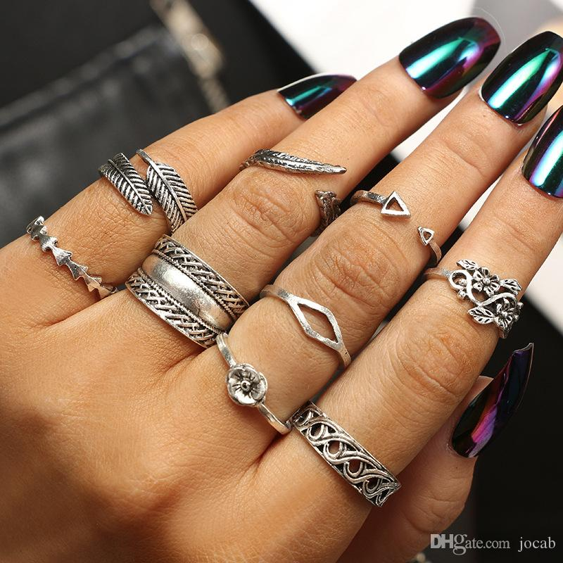2019 9pcs/Set Vintage Antique Silver Flower Wave Carved Ring Set Knuckle Finger Midi Rings for Women Jewelry Accessories Punk Rings Sets