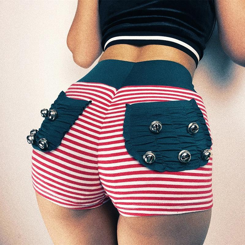 d2fb1ef23b New Polyester Shorts Women High Waist 2019 Hot Sale Red Strip Slim ...