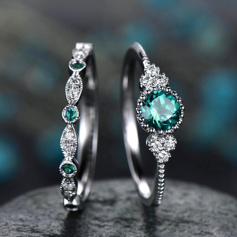 2Pcs/Set Luxury Green Blue Stone Crystal Rings For Women Sliver Color  Wedding Engagement Rings Jewelry Dropship bagues pour