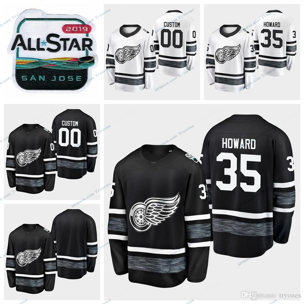 big sale c82f1 81d23 2019 All Star Game Detroit Red Wings Jimmy Howard Stitched Jerseys Men  Black White Customize All-Star #35 Jimmy Howard Hockey Jerseys