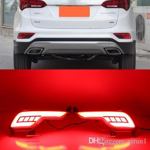 For Hyundai Santa Fe IX45 2016 2017 Multi-function Car LED Rear Bumper  Light Auto Brake Light Turn Signal Light Reflector