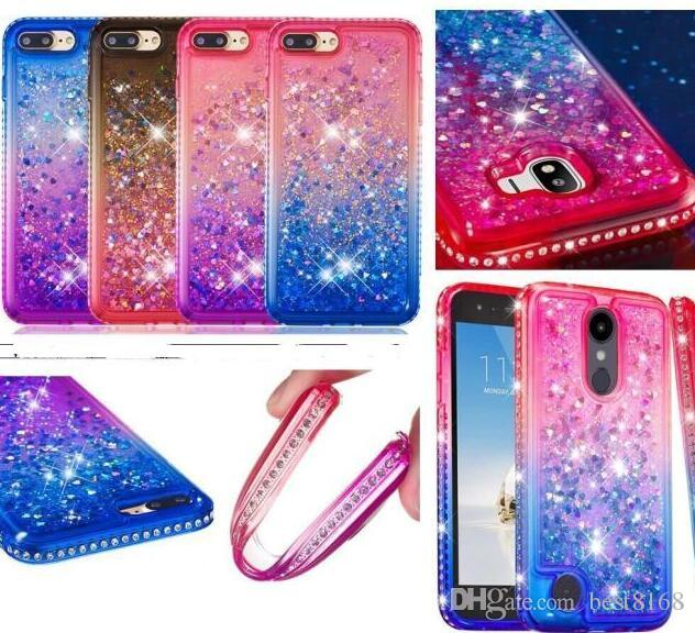 For Huawei Y5 2018 Mate 20 Lite Pro Moto G6 Plus 2018 E5 Play Gradient Liquid Soft TPU Case Diamond Bling Quicksand Luxury Plating Cover