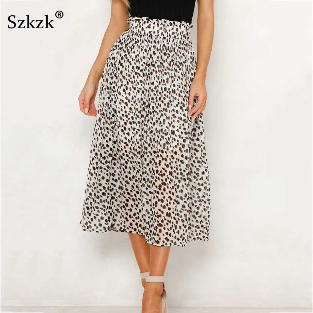 b38337c9d851 2019 Szkzk Sexy Leopard Print Midi Skirts Women Clothes 2019 Summer Casual  High Waist A Line Skirt Spring Sexy White Skirts Female From Bida Jany, ...